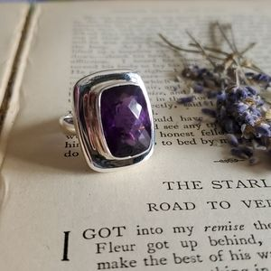 Large Amethyst Ring Sterling Silver